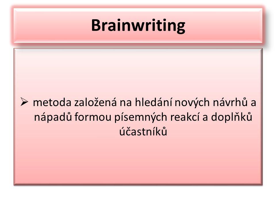 Brainwriting metoda založená na hledání nových návrhů a nápadů formou písemných reakcí a doplňků účastníků.