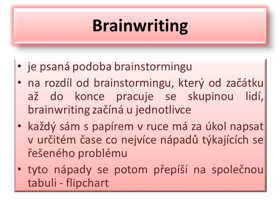 Brainwriting je psaná podoba brainstormingu