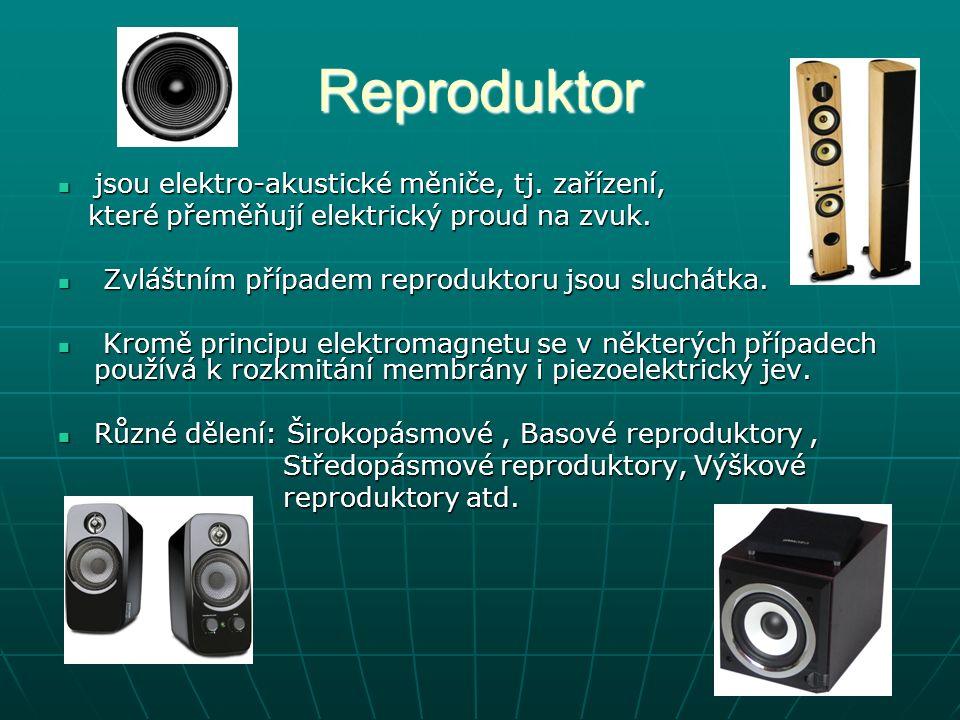 Reproduktor jsou elektro-akustické měniče, tj. zařízení,