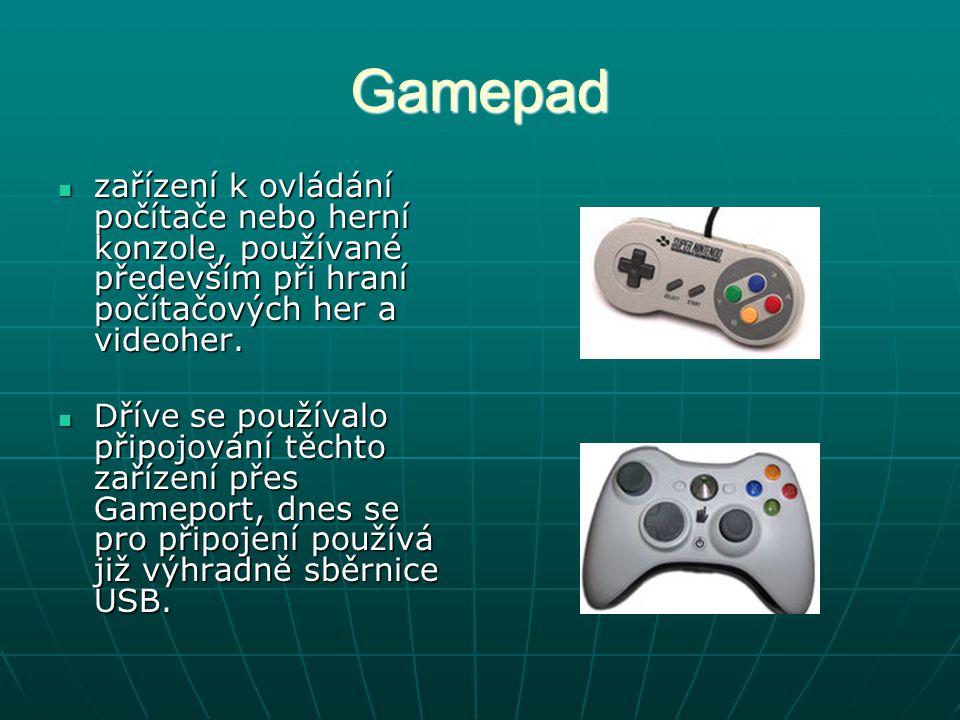 Gamepad zařízení k ovládání počítače nebo herní konzole, používané především při hraní počítačových her a videoher.