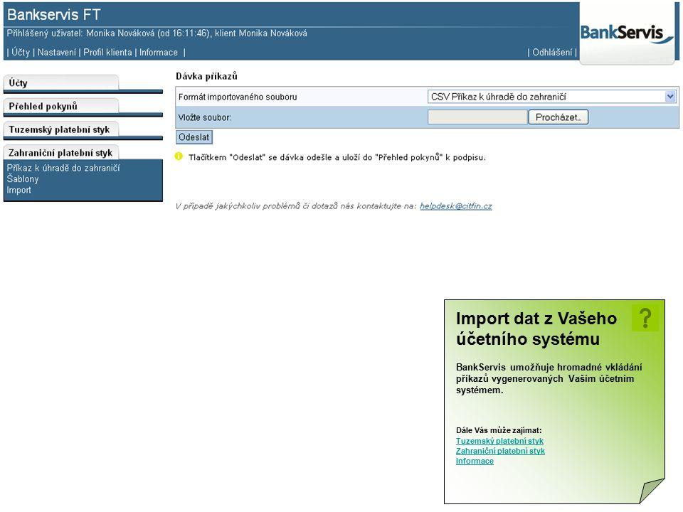 Import dat z Vašeho účetního systému
