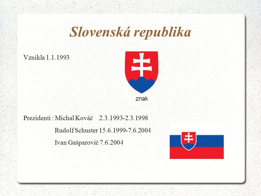 Slovenská republika Vznikla 1.1.1993 Prezidenti : Michal Kováč 2.3.1993-2.3.1998 Rudolf Schuster 15.6.1999-7.6.2004 Ivan Gašparovič 7.6.2004