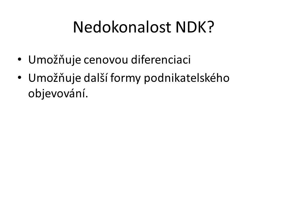 Nedokonalost NDK Umožňuje cenovou diferenciaci