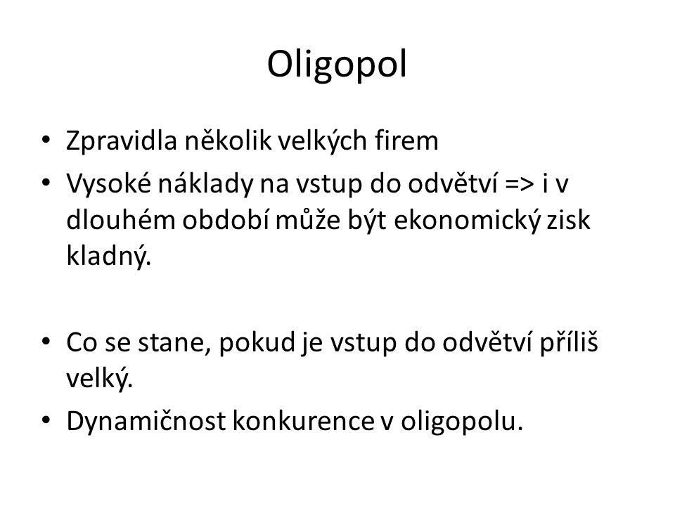 Oligopol Zpravidla několik velkých firem