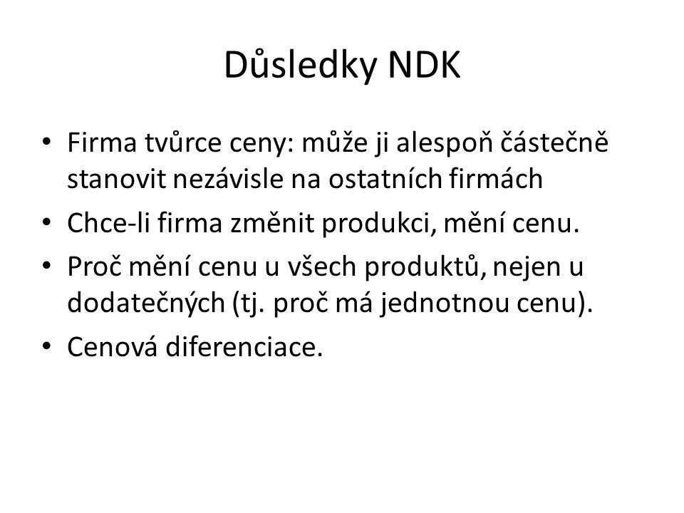 Důsledky NDK Firma tvůrce ceny: může ji alespoň částečně stanovit nezávisle na ostatních firmách. Chce-li firma změnit produkci, mění cenu.