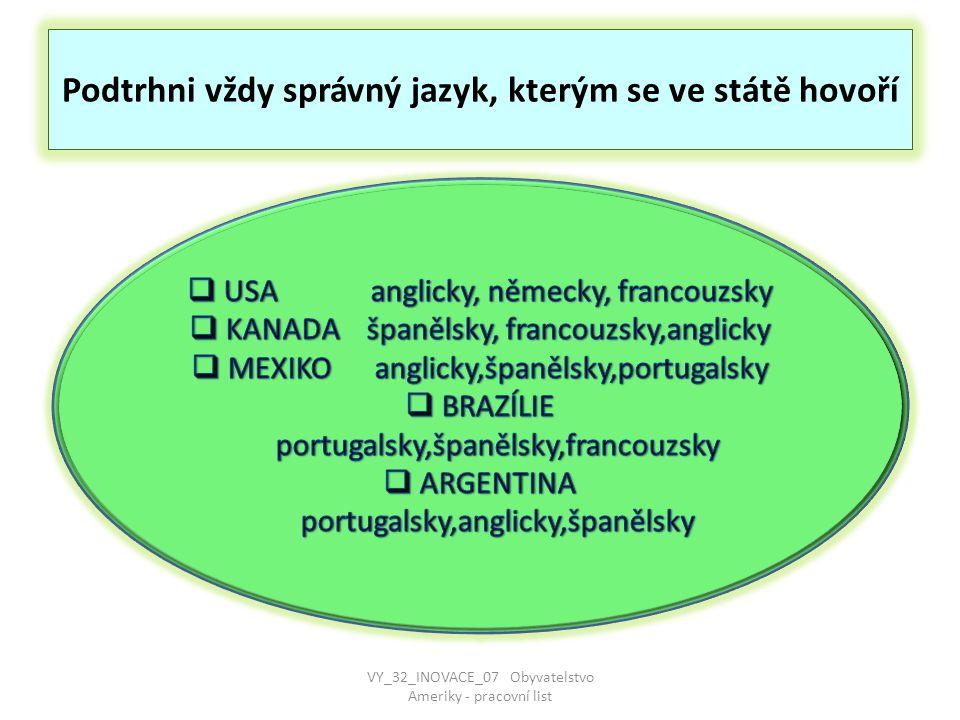 Podtrhni vždy správný jazyk, kterým se ve státě hovoří