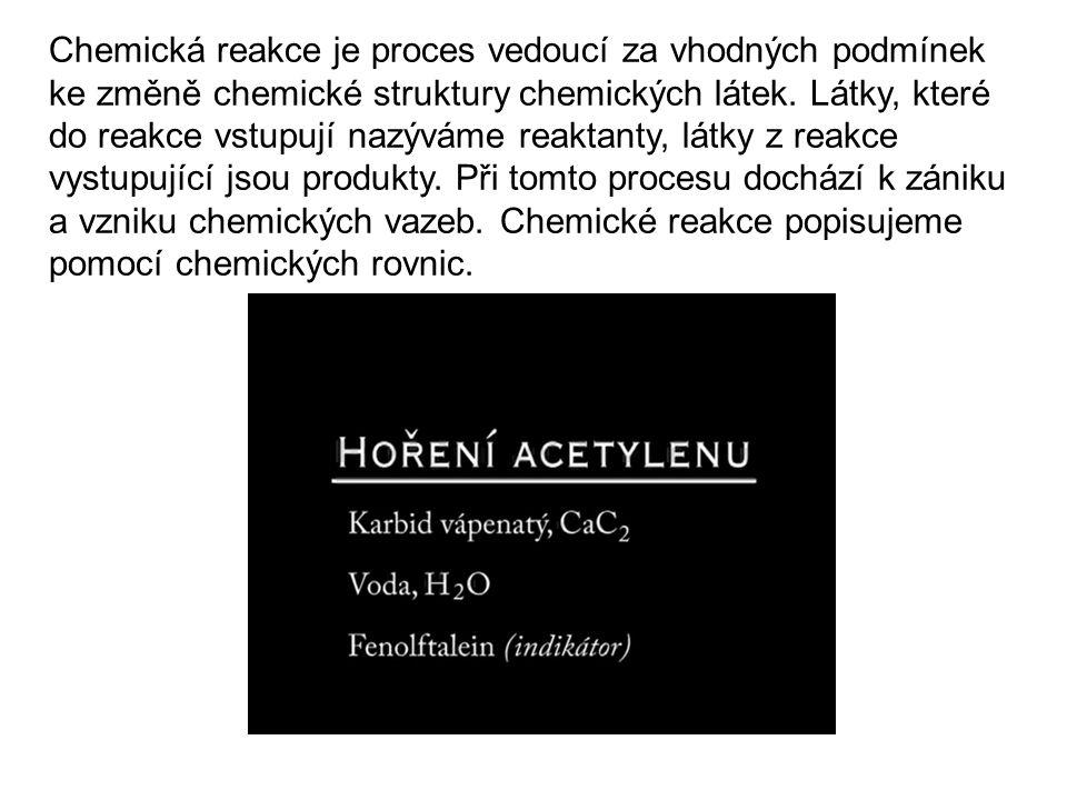Chemická reakce je proces vedoucí za vhodných podmínek ke změně chemické struktury chemických látek.