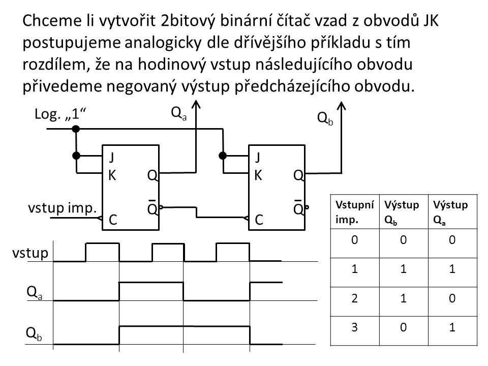 Chceme li vytvořit 2bitový binární čítač vzad z obvodů JK postupujeme analogicky dle dřívějšího příkladu s tím rozdílem, že na hodinový vstup následujícího obvodu přivedeme negovaný výstup předcházejícího obvodu.