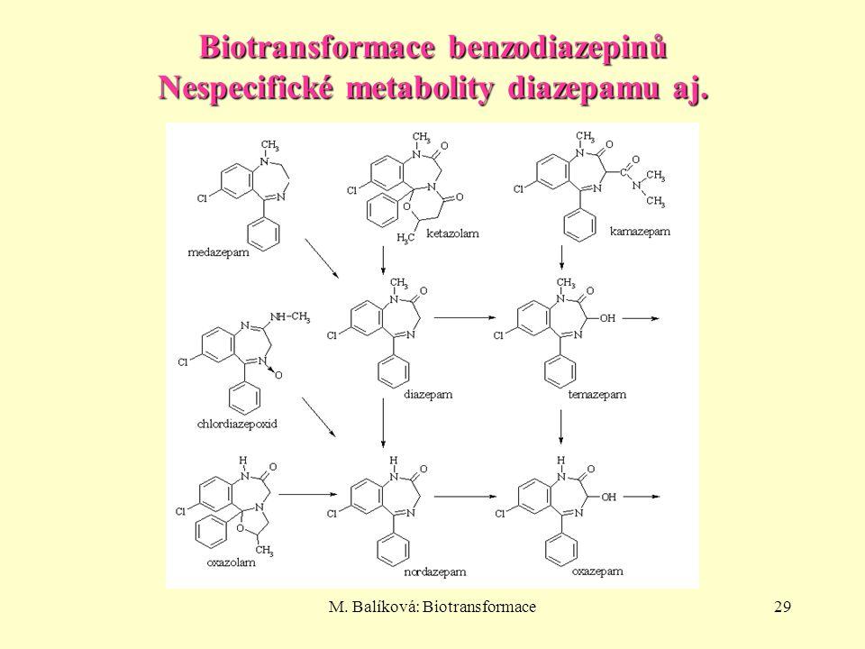 Biotransformace benzodiazepinů Nespecifické metabolity diazepamu aj.