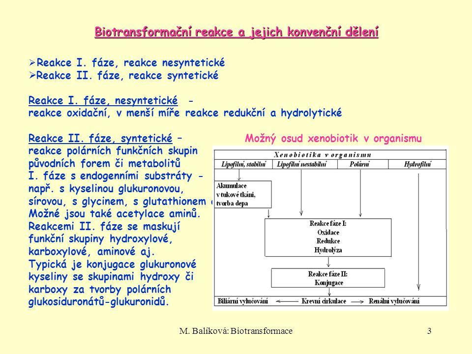 Biotransformační reakce a jejich konvenční dělení