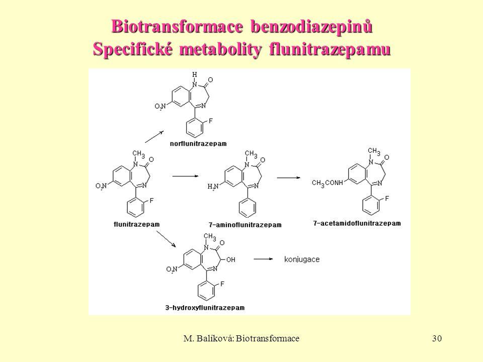 Biotransformace benzodiazepinů Specifické metabolity flunitrazepamu