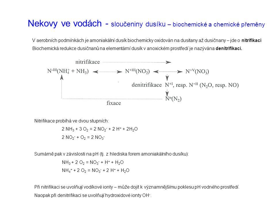 Nekovy ve vodách - sloučeniny dusíku – biochemické a chemické přeměny