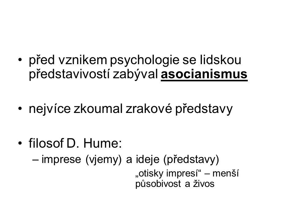 nejvíce zkoumal zrakové představy filosof D. Hume: