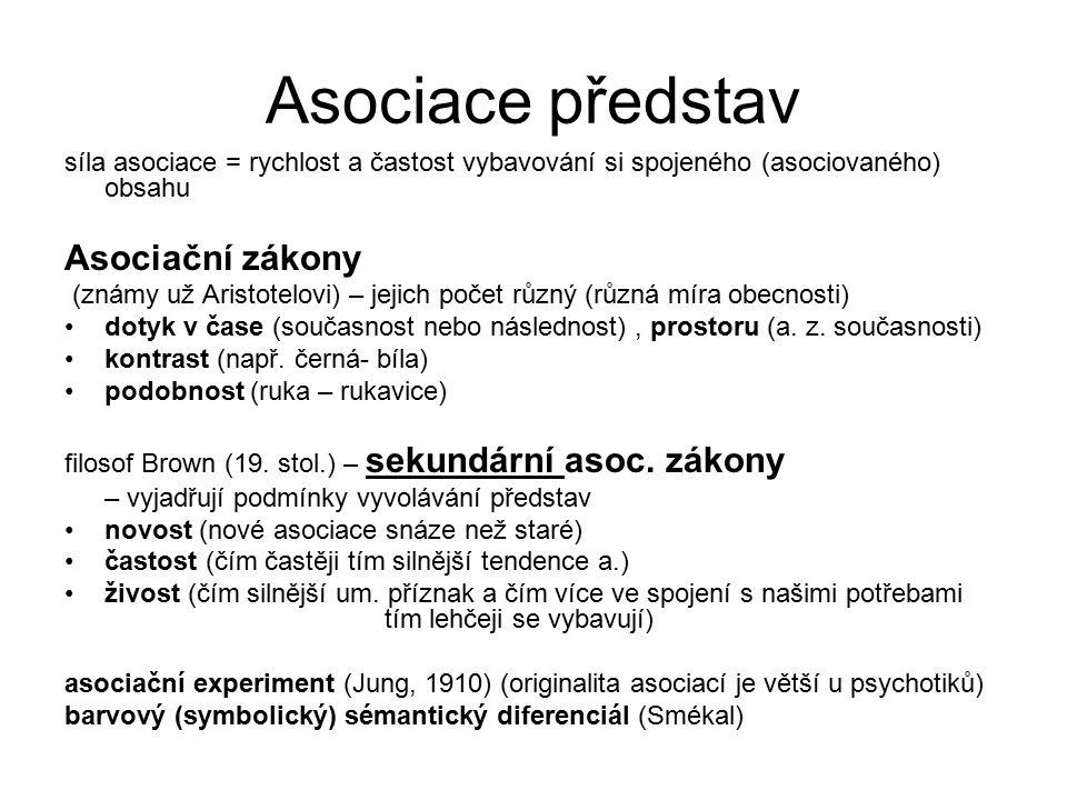 Asociace představ Asociační zákony