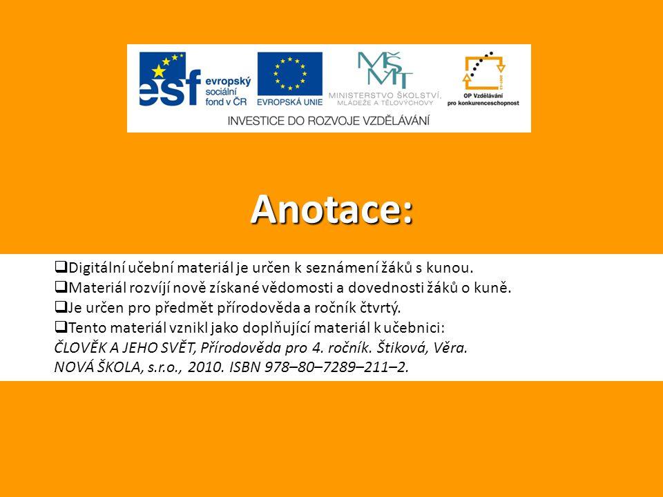 Anotace: Digitální učební materiál je určen k seznámení žáků s kunou.