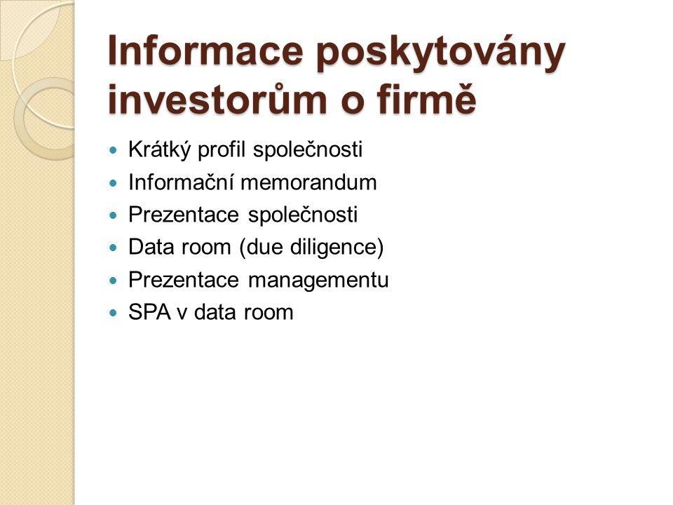 Informace poskytovány investorům o firmě
