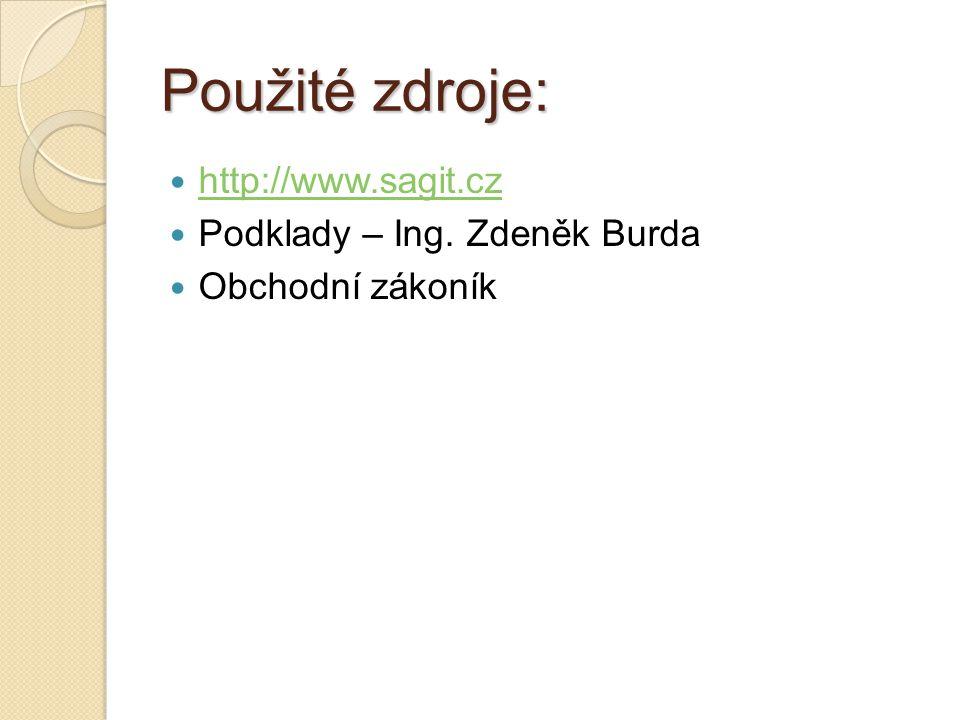 Použité zdroje: http://www.sagit.cz Podklady – Ing. Zdeněk Burda