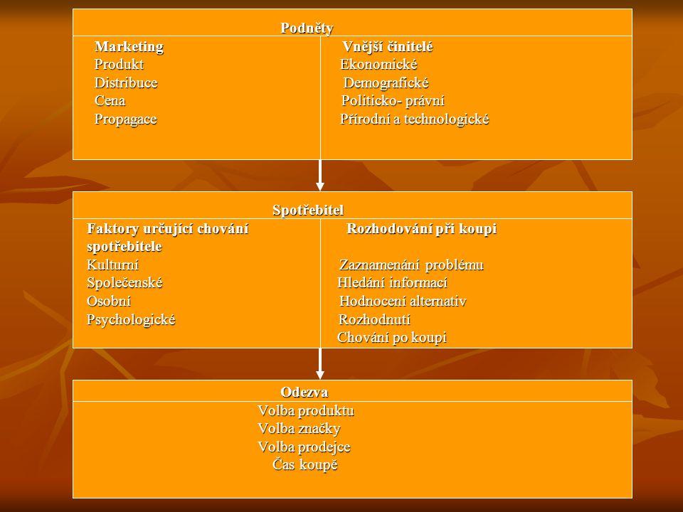 Podněty Marketing Vnější činitelé.