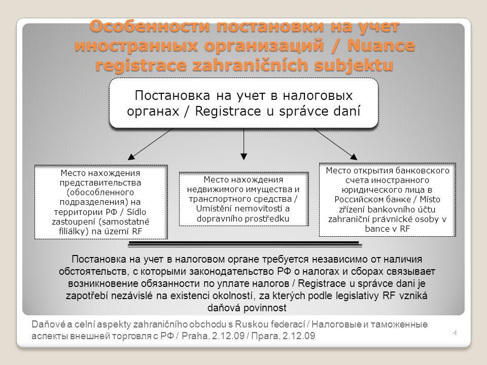 Постановка на учет в налоговых органах / Registrace u správce daní