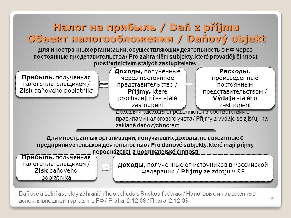Налог на прибыль / Daň z příjmu Объект налогообложения / Daňový objekt