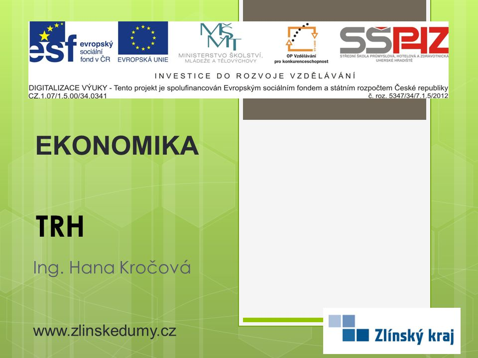 EKONOMIKA TRH Ing. Hana Kročová www.zlinskedumy.cz