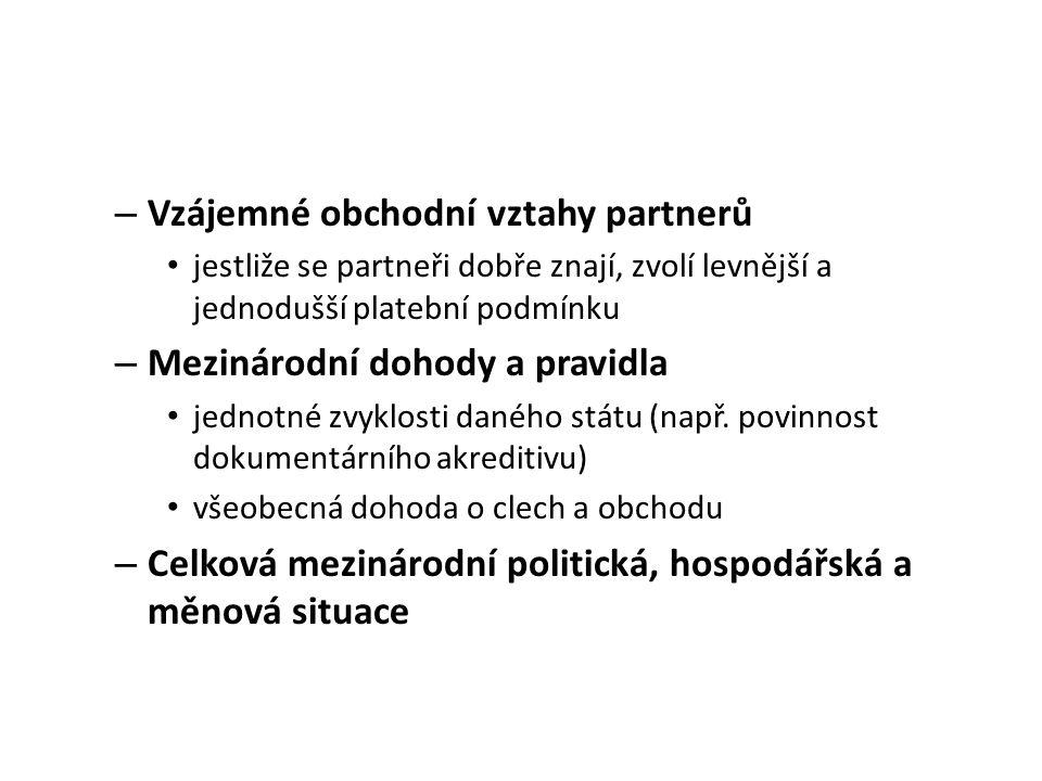 Vzájemné obchodní vztahy partnerů
