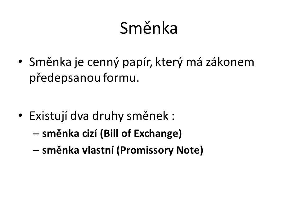 Směnka Směnka je cenný papír, který má zákonem předepsanou formu.