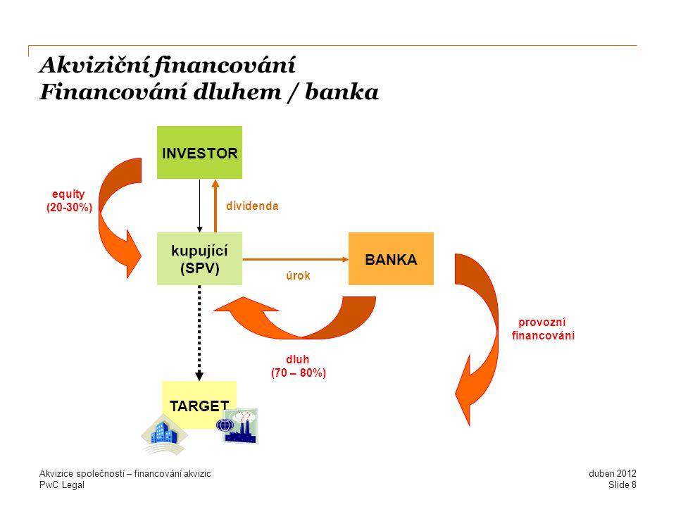 Akviziční financování Financování dluhem / banka