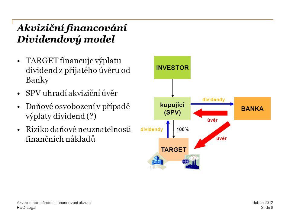 Akviziční financování Dividendový model