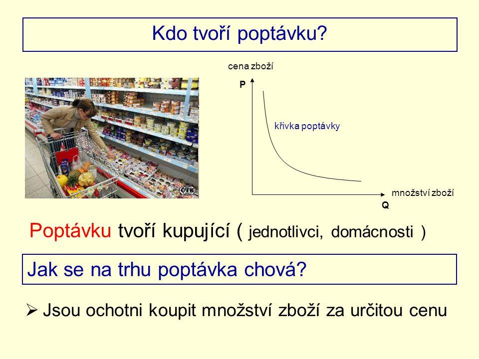 Poptávku tvoří kupující ( jednotlivci, domácnosti )