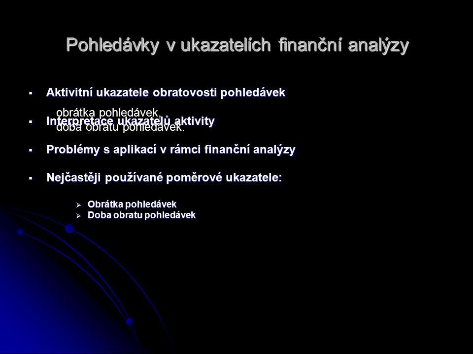 Pohledávky v ukazatelích finanční analýzy