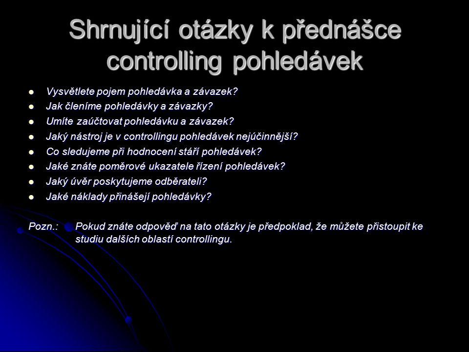 Shrnující otázky k přednášce controlling pohledávek