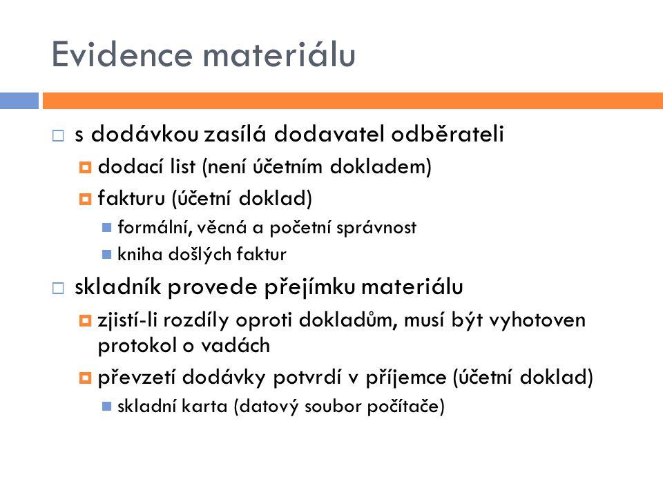 Evidence materiálu s dodávkou zasílá dodavatel odběrateli