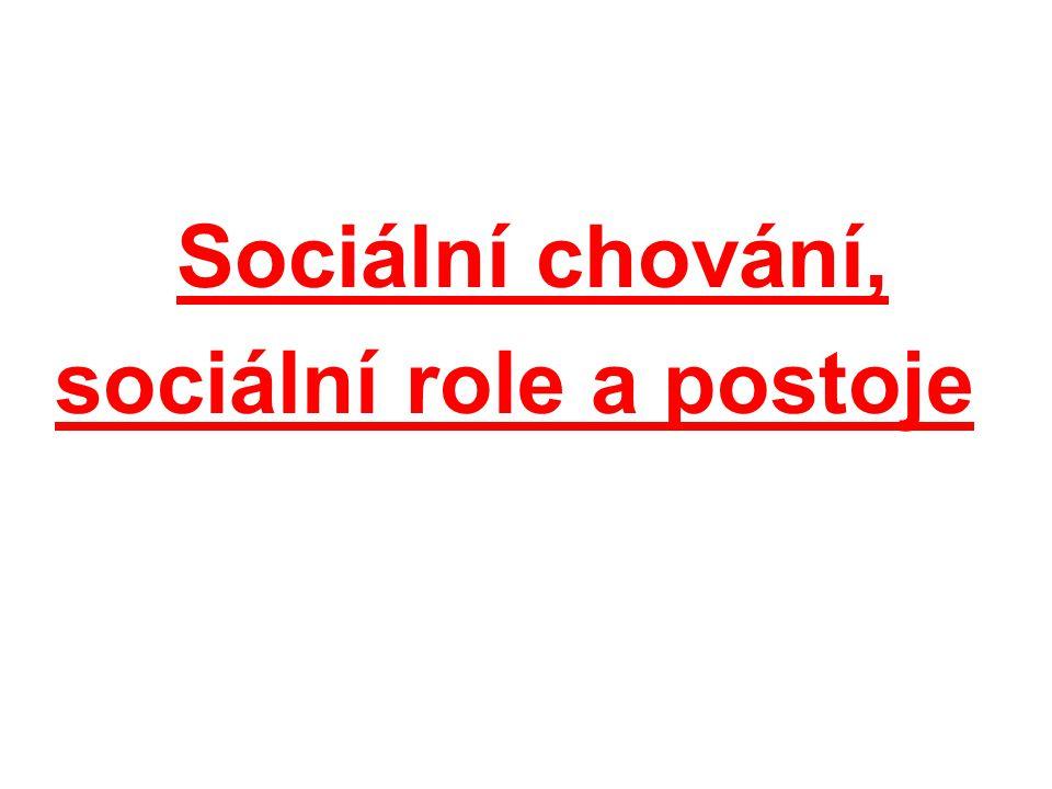 Sociální chování, sociální role a postoje