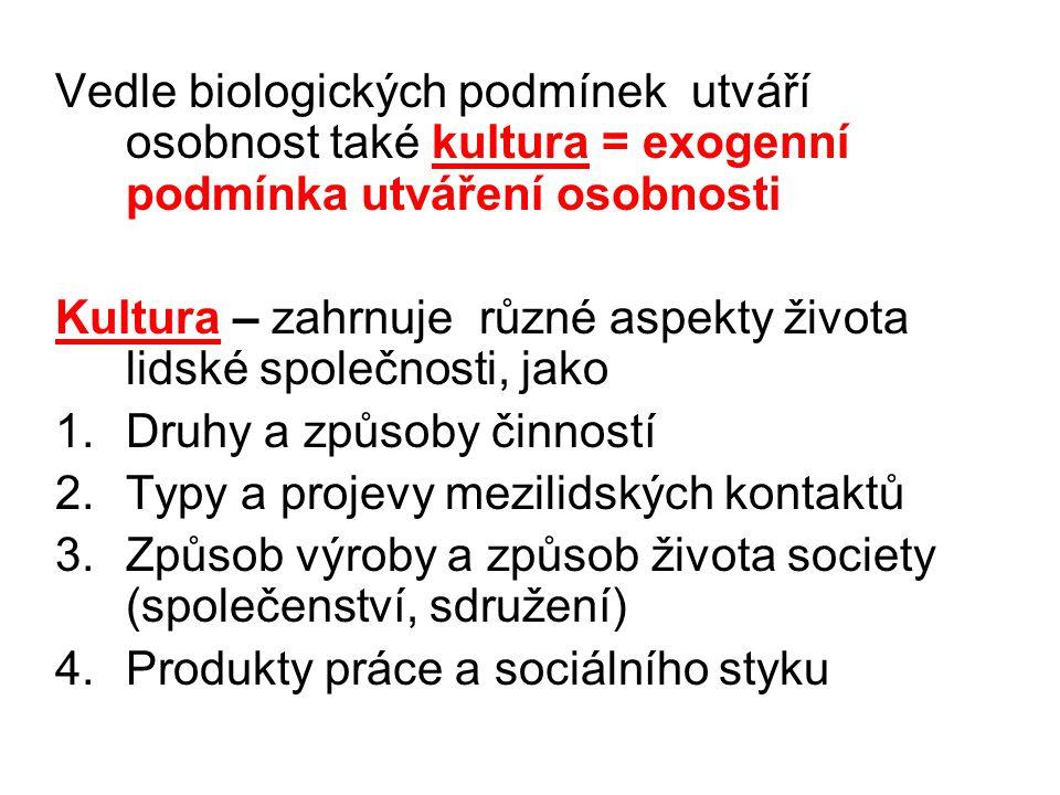 Vedle biologických podmínek utváří osobnost také kultura = exogenní podmínka utváření osobnosti