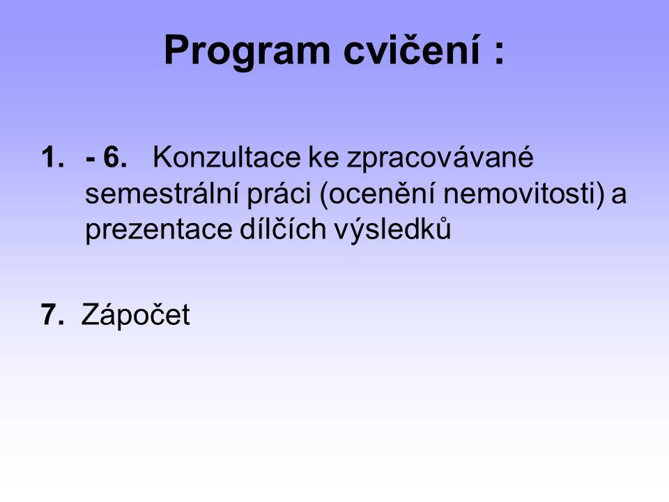 Program cvičení : - 6. Konzultace ke zpracovávané semestrální práci (ocenění nemovitosti) a prezentace dílčích výsledků.
