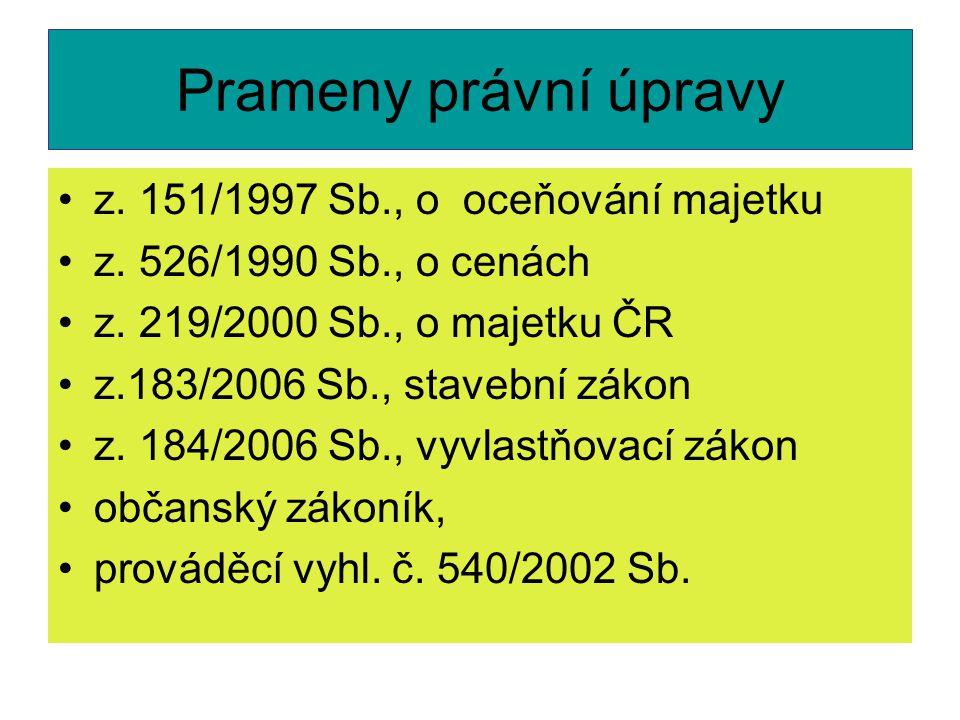 Prameny právní úpravy z. 151/1997 Sb., o oceňování majetku