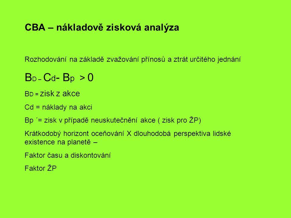 BD – Cd- Bp > 0 CBA – nákladově zisková analýza