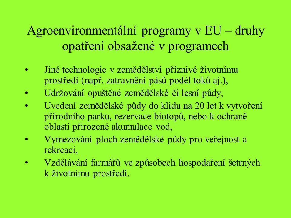 Agroenvironmentální programy v EU – druhy opatření obsažené v programech