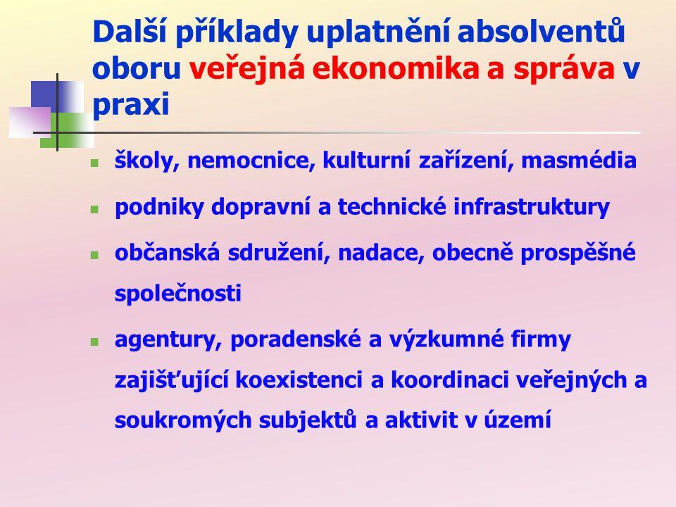 Další příklady uplatnění absolventů oboru veřejná ekonomika a správa v praxi