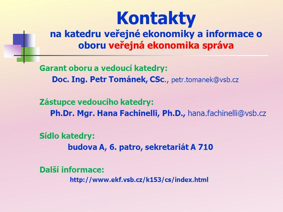 Kontakty na katedru veřejné ekonomiky a informace o oboru veřejná ekonomika správa