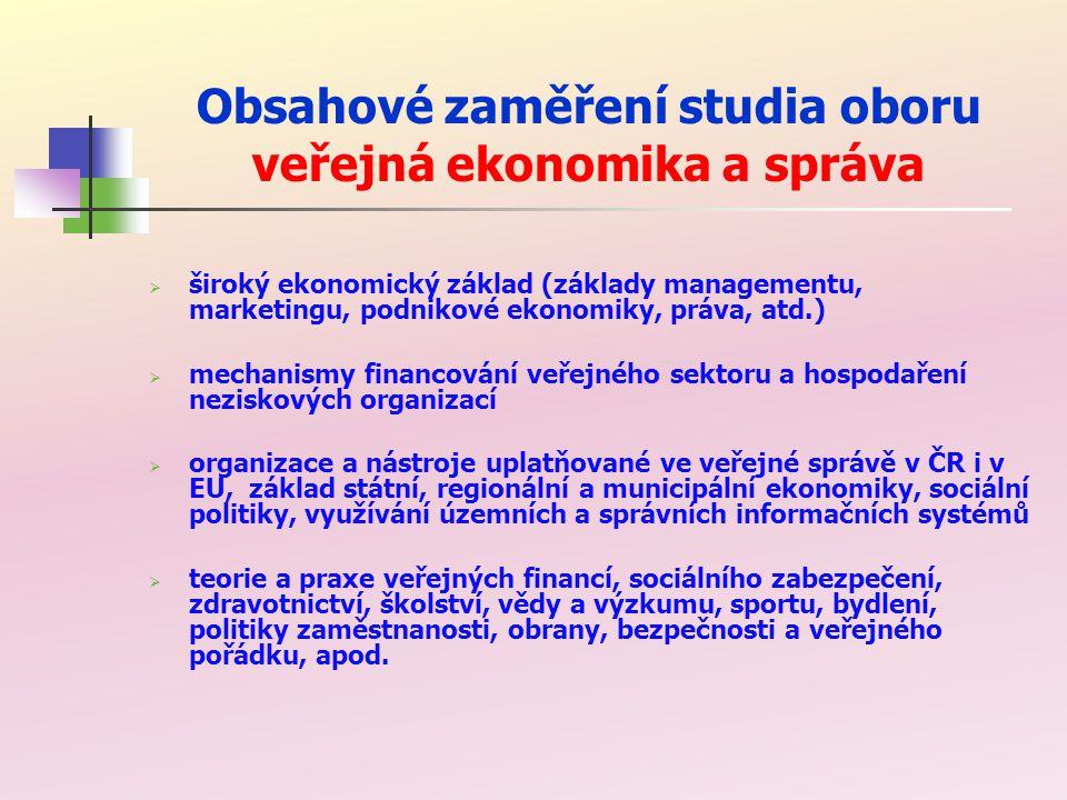 Obsahové zaměření studia oboru veřejná ekonomika a správa