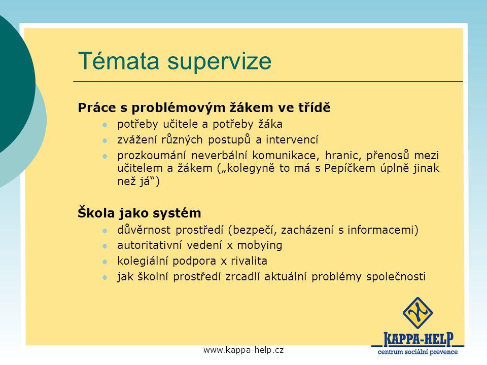 Témata supervize Práce s problémovým žákem ve třídě Škola jako systém