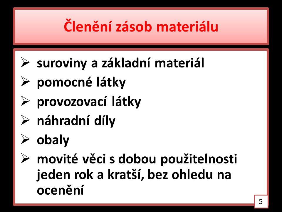 Členění zásob materiálu