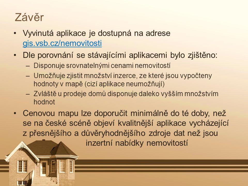 Závěr Vyvinutá aplikace je dostupná na adrese gis.vsb.cz/nemovitosti