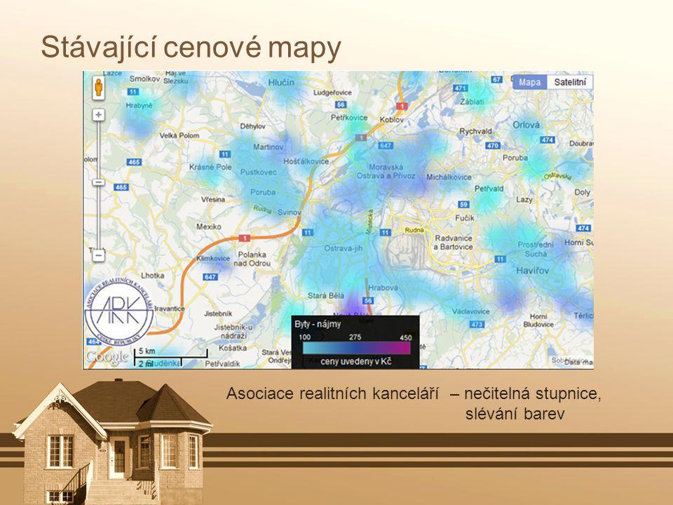 Stávající cenové mapy Asociace realitních kanceláří – nečitelná stupnice, slévání barev.