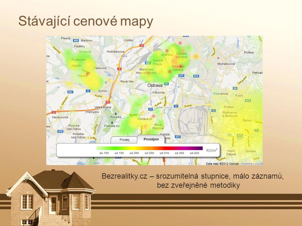 Stávající cenové mapy Bezrealitky.cz – srozumitelná stupnice, málo záznamů, bez zveřejněné metodiky.