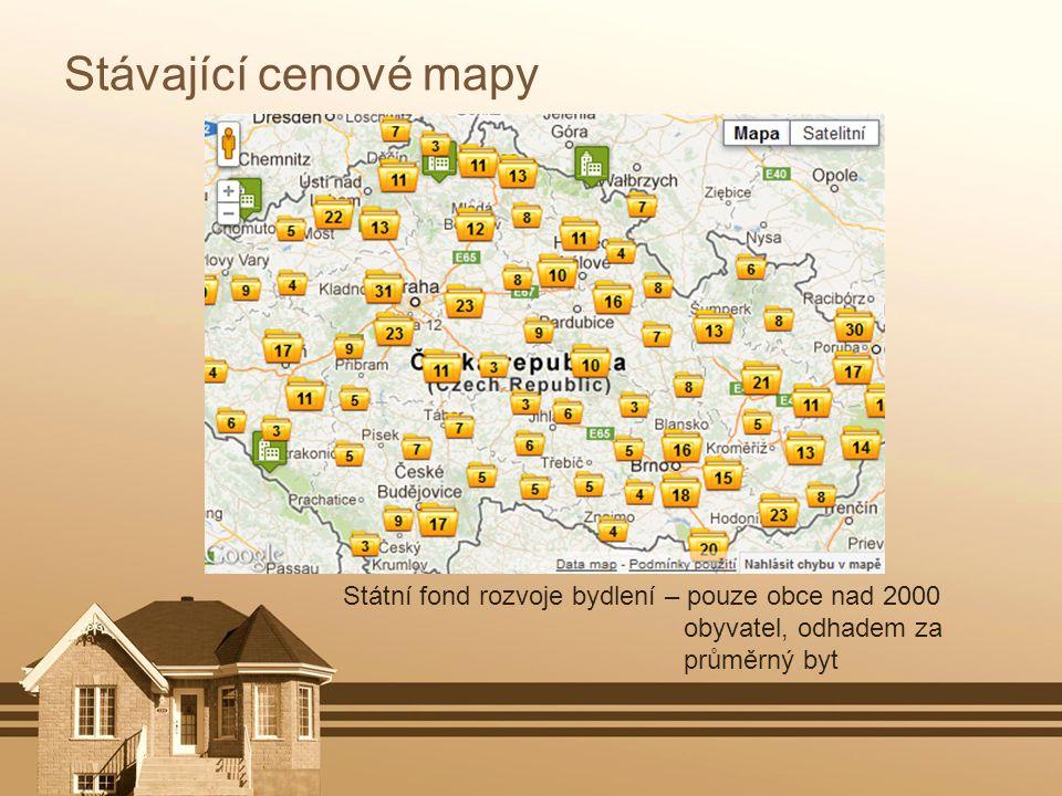 Stávající cenové mapy Státní fond rozvoje bydlení – pouze obce nad 2000 obyvatel, odhadem za průměrný byt.