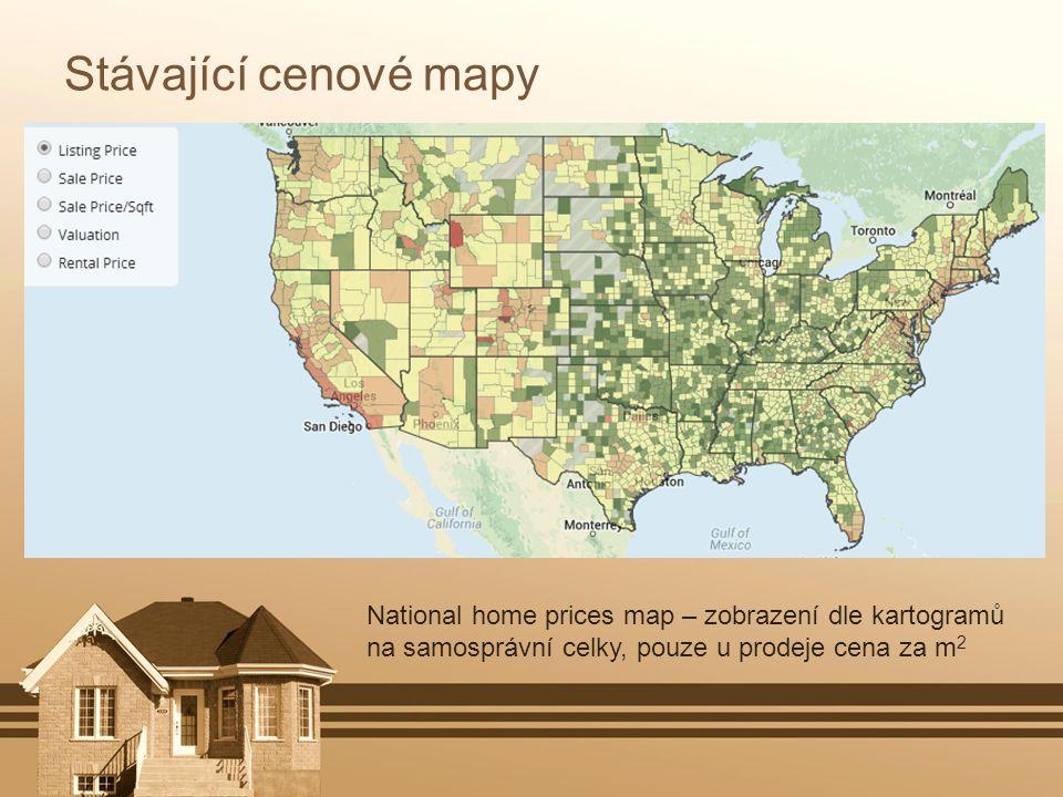 Stávající cenové mapy National home prices map – zobrazení dle kartogramů na samosprávní celky, pouze u prodeje cena za m2.