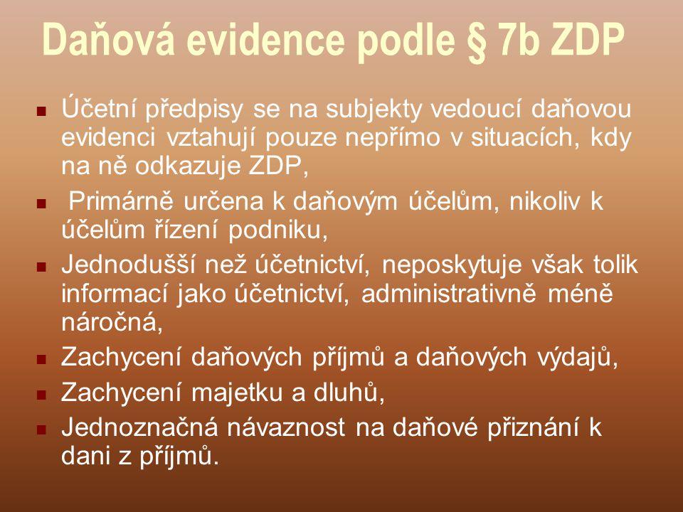 Daňová evidence podle § 7b ZDP